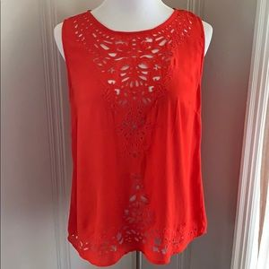 Cynthia Rowley Orange/red Sleeveless Blouse Sz Med